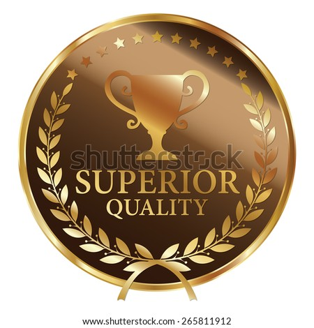 Brown and Gold Metallic Superior Quality Label, Sticker, Banner, Sign or Icon Isolated on White Background - stock photo
