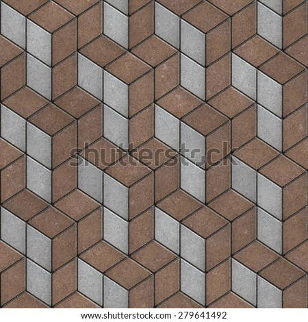 Brown and Gray Pavement in a Pattern of Rhombuses. Seamless Tileable Texture. - stock photo