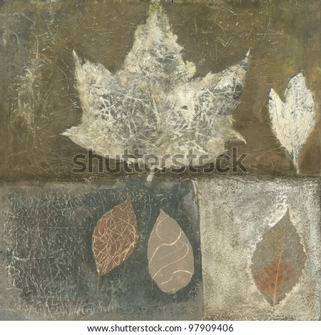 Brown and neutral tone leaf painting with textural qualities. - stock photo