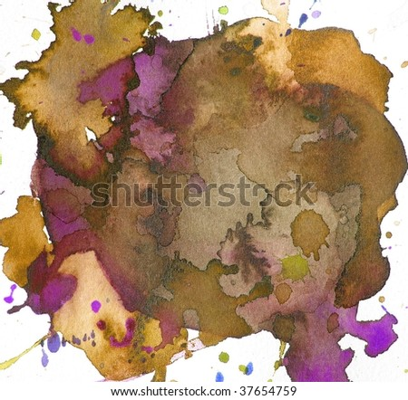 brown and purple abstract paint background splash - stock photo