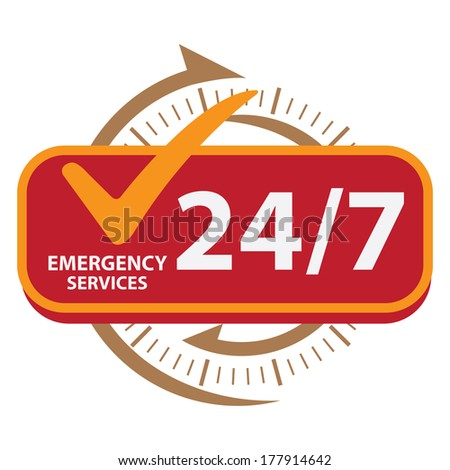 Brown and Red 24/7 Emergency Services Icon, Badge, Label or Sticker for Customer Service, Support or CRM Concept Isolated on White Background  - stock photo