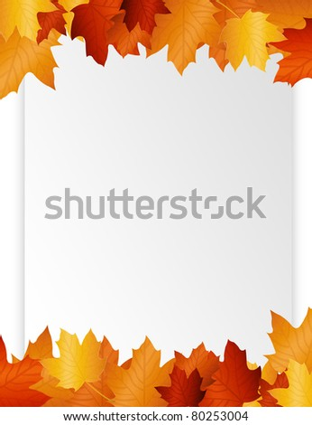 brown and white  blank paper autumn leaf.illustration