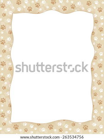 Brown and white paw print seamless pattern border / frame on light brown background - stock photo
