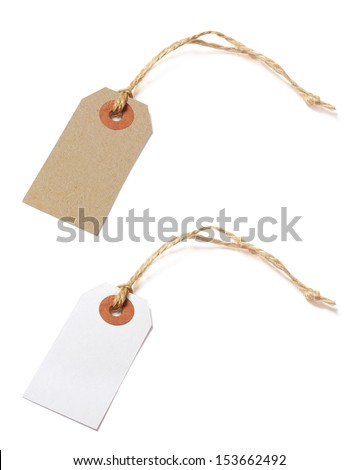 Brown and white tags isolated on white background - stock photo