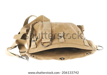 Brown army shoulder bag isolated over the white background - stock photo