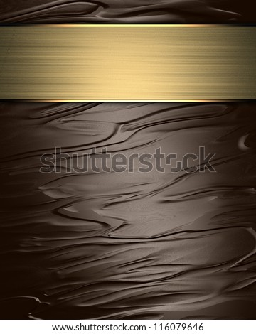 Brown Background (Texture) with a gold nameplate for writing. - stock photo