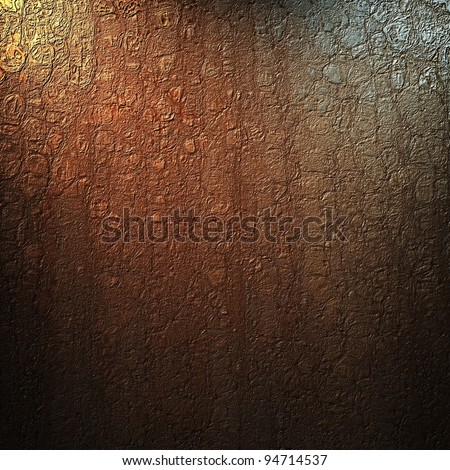 brown background with abstract vintage grunge crackle texture and soft corner lighting with dark black vignette shadows on border of frame with copy space highlight in center - stock photo