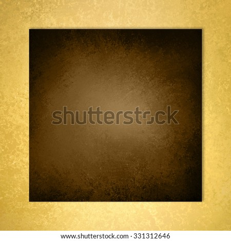 brown background with elegant metallic gold border and vintage distressed texture - stock photo