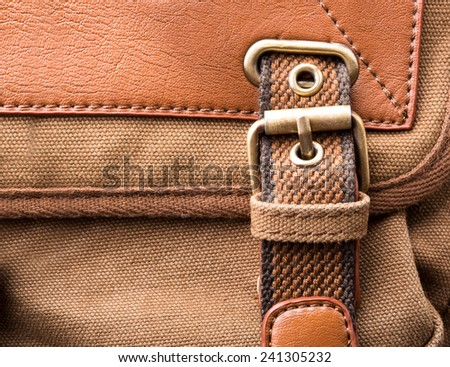Brown backpack buckle - stock photo