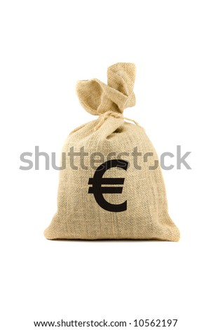 Brown bag with euro sign. Isolated on white - stock photo