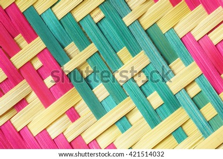 Brown bamboo weaving texture woven - stock photo