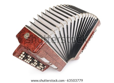Brown bayan (accordion) top view on white background - stock photo
