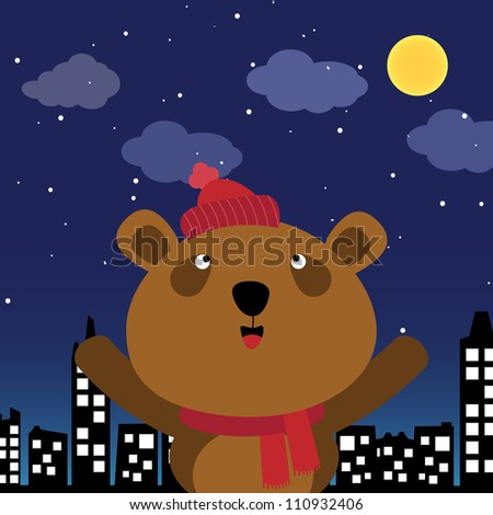 Brown bear in the city at night - stock photo