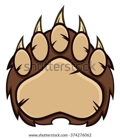 Brown Bear Paw With Claws. Raster Illustration Isolated On White - stock photo