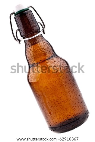 Brown Beer Bottle, Completeley Isolated On White - stock photo
