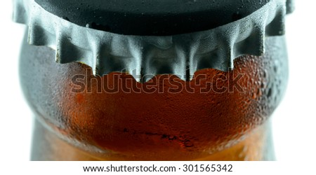 brown beer bottle with condensation - stock photo