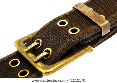brown belt and buckle isolated on a white background. - stock photo