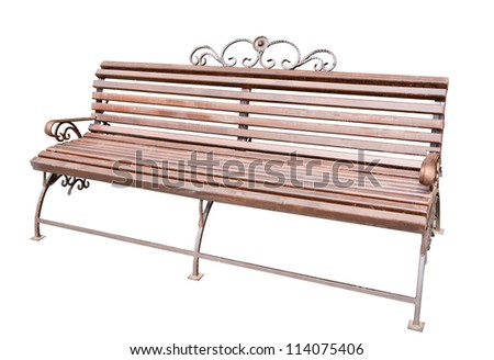 brown bench isolated on white background