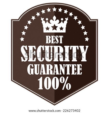 Brown Best Security Guarantee 100% Badge, Icon, Label or Sticker Isolated on White Background  - stock photo