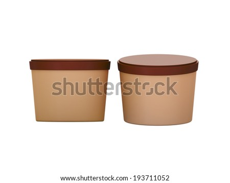 Brown  blank short Tub Food Plastic Container with clipping path, Plastic package mock up - stock photo