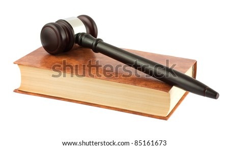 Brown book and gavel isolated on white background - stock photo
