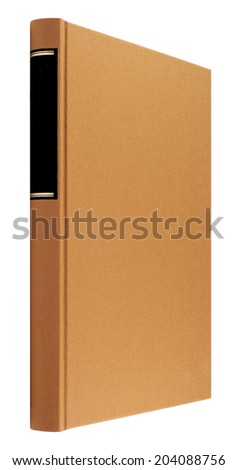 brown book isolated on white, black frame for title on the spine - stock photo