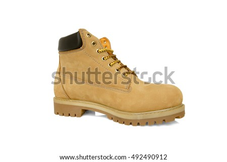 brown boot leather in white background