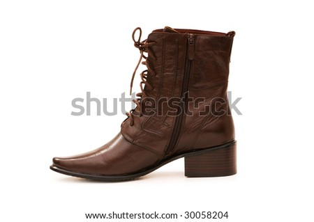 Brown boots isolated on the white background
