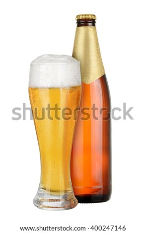 Brown Bottle and glass of beer isolated on white background. - stock photo