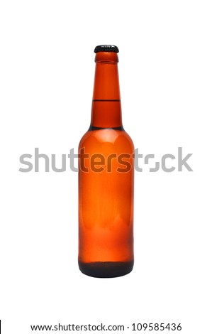 brown bottle of beer on white background - stock photo