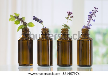 brown bottle  with aromatic herbs for essential oil - stock photo