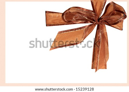 Brown bow on white background
