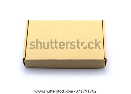 Brown box cardboard box isolated on white background - stock photo