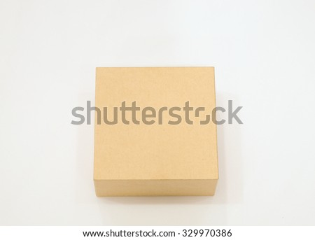 Brown box isolated white background - stock photo