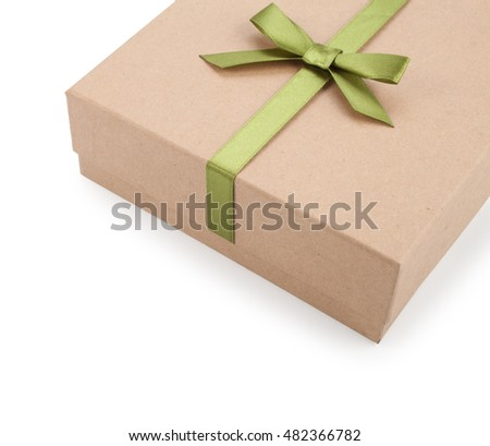 brown box with gifts, bow, ribbon isolated