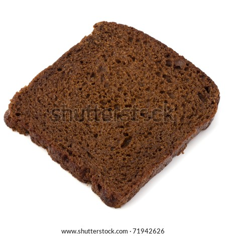Brown bread slice isolated on white background - stock photo