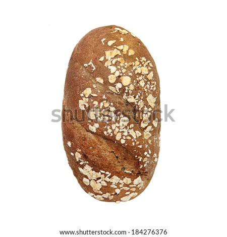 brown bread with bran isolated on white background - stock photo