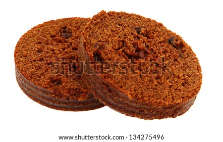 Brown Bread With Raisins Isoloated On White Background