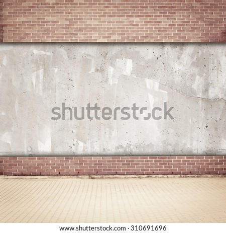 Brown brick and concrete wall background with walkway