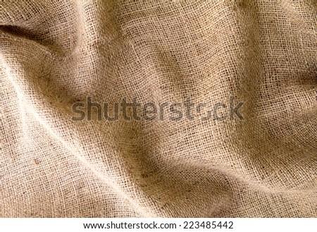Brown burlap texture background - stock photo