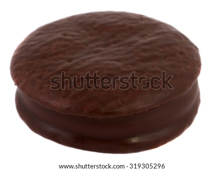 Brown cake on white background. Isolate - stock photo