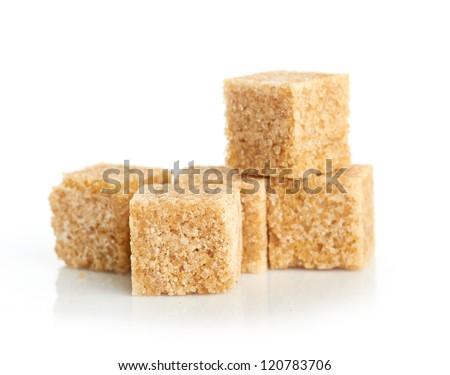 Brown cane sugar cubes - stock photo