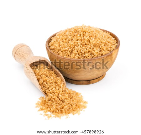 brown cane sugar in a wooden bowl isolated on white - stock photo