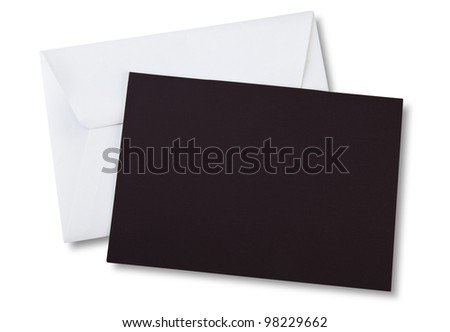 Brown card and envelope isolated on white (space for your logo or text) - stock photo