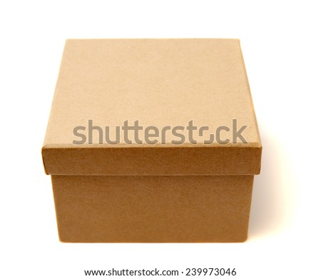 Brown cardboard box isolated on white. Studio shot. - stock photo