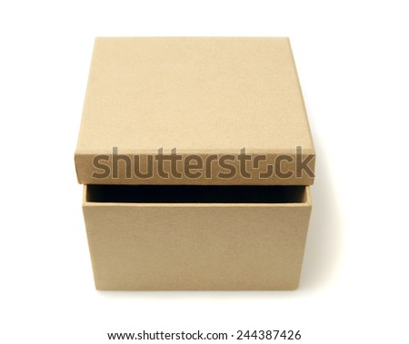 Brown cardboard box isolated on white.Studio shot. - stock photo