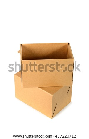 Brown cardboard box package with cover, isolated with soft shadow on white background