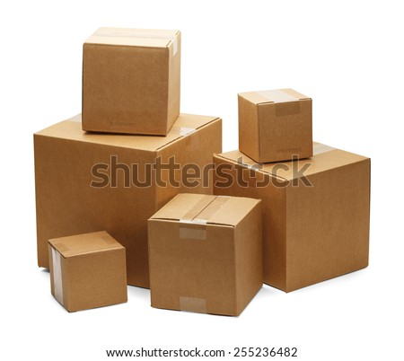 Brown Cardboard Boxes in a Pile Isolated on a White Background. - stock photo