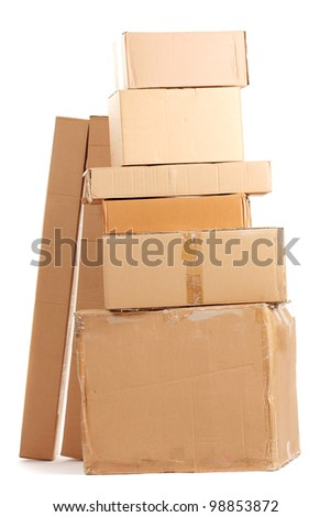 Brown cardboard boxes isolated on white - stock photo