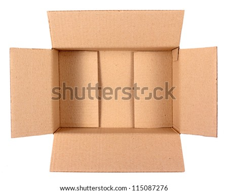 Brown cardboard postal box isolated on white background - stock photo